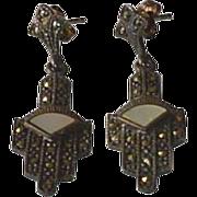 Vintage Sterling Silver Marcasite Earrings
