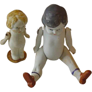Vintage Pair Bisque Miniature Dolls Made in Japan