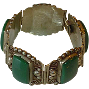 Vintage Classic Huge Mexico Sterling Silver Bracelet with Green Stones Signed