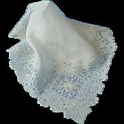 Antique  Wedding Brussels Point de Gaze Lace Handkerchief Hankie Hanky