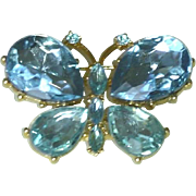 Large Turquoise Stone Butterfly Brooch Pin