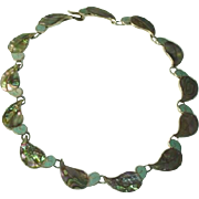 Old Mexican Sterling Silver Colourful Abalone Shell Turquoise Necklace