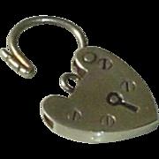 Art Deco Sterling Silver Heart Padlock