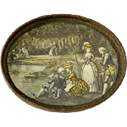 Antique French Lithograph Tray with Metallic Trim