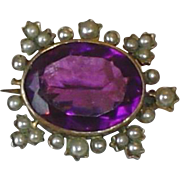 SALE Antique Victorian Gold Filled Brooch With Large Amethyst And Seed Pearls