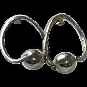 Vintage Sterling Silver Taxco Hoop Earrings with Balls