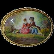 SALE Antique 14K Gold Enamel Brooch Courting Couple