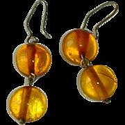 Vintage Estate Baltic Amber Bead Ball Drop Earrings
