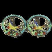 Guilloche Enamel Belt Buckle with Swallows