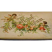 Antique Victorian Putti Angels Cupid Chromo Litho Leather Autograph Book Floral Album