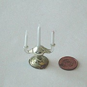 Miniature German Doll House Three Arm Glass Candelabra