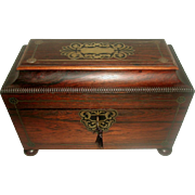 Rosewood Tea Caddy 19th Century England Exquisite