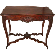 French Center Table Walnut 19th Century Hand Carved