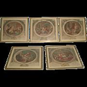 French Mini Engravings Set 5 Framed 19th Century
