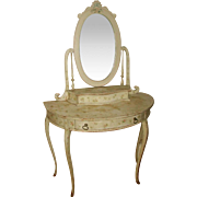 Flowered French Vanity With Mirror And Glove Box Early 1900's