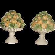 Porcelain Lemon Arrangements Pair Italy