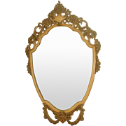 Carved Shield Mirror Ornate 20th Century