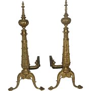 Pair Brass Andirons Early 1900's
