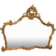 French Gilt Mirror Over Mantel Buffet  20th Century