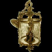 Chandelier Bronze Crystal Etched  German Rewired
