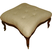 French Stool Table C.1850 Walnut Newly Upholstered
