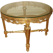 French Gilt Table Coffee 19th Century Hand Carved
