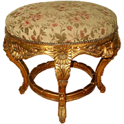 Large Gilt Stool Original Mohair Upholstery 19th Century France