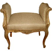 French Gilt Bench 19th Century New Upholstery