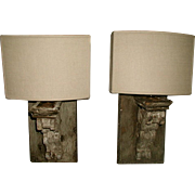 Electrified Wooden Sconces Half Shades France