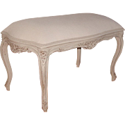 French Stool Bench 19th C New White Linen Upholstery