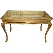 French Coffee Table Carved Glass Top 19th Century