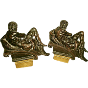 Neoclassical Italian Bookends Plaster Bronze Finish Early 1900's