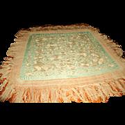 Silk Piano Throw Italy 19th C Silk Macrame Fringe