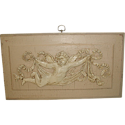 French Cherub Plaque 19th Century Carved