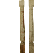 Italian Wall Columns Flat Half Wooden 19th Century