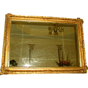 French Gilt Mirror Carved Beveled Mid 19th Century