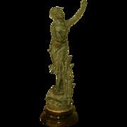 "Signed Sculpture ""La Nymphe"" Mahogany Base Early 1900's"