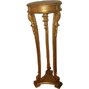 Gilt Pedestal Table France Early 1900's Carved