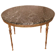 Bronze Neoclassical Coffee Table Italy Marble and Additional Mirrored Top