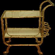 Italian Beverage Cart Gilt Metal Glass Shelves 20th Century