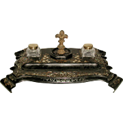French Inlaid Inkwell Papier Mache 19th Century Dual