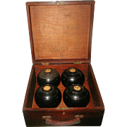 Lawn Bowling Set Scotland 19th C With Wooden Case
