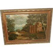 English Oil Painting 19th Century Framed Landscape