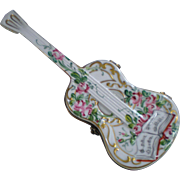 Chamart Peint Main Limoges Porcelain Guitar Trinket Box