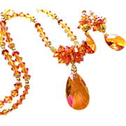 Astral Pink Swarovski Crystal Statement Necklace and Earrings Set