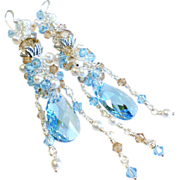 Swarovski Crystal Statement Earrings In Shades of Aquamarine, Taupe and White