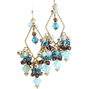 SOLD Swarovski Crystal Chandelier Earrings In Blues and Browns - Red Tag Sale Item