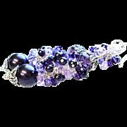Long Purple Swarovski Crystal and Pearl Cluster Earrings