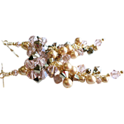 SOLD Swarovski Crystal Cluster Earrings In Soft Rose and Metallic Gold