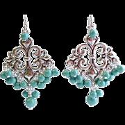 SOLD Turquoise Green Swarovski Pearl Chandelier Earrings